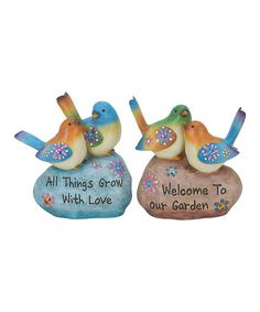 Another great find on #zulily! 'All Things Grow With Love' & 'Welcome To Our Garden' Figurine Set #zulilyfinds