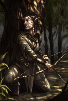 f Wood Elf Ranger Leather Longbow forest hills midlvl by Bakirasan High Fantasy, Fantasy Rpg, Medieval Fantasy, Fantasy Artwork, Fantasy Images, Dnd Characters, Fantasy Characters, Fantasy Figures, Fictional Characters
