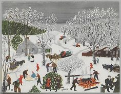 Nothing like some Grandma Moses to think about the nostalgia of winter. ( we visited the Moses Museum and purchased a print like this...I hang it each Christmas....
