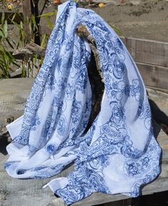 #Chiffon #Scarves - such a pretty design midnight blue on a pure white background. Can be found on our Facebook page:http://www.facebook.com/lovelysilks in our early Spring offer £9.95 including p&p.