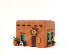 Handmade and Hand-Painted Miniature Terra Cotta Colored Adobe House - HO Scale