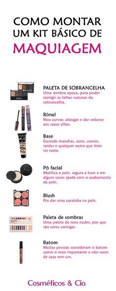 Dica de como montar um kit básico de makeup! Você encontra todos os produtos na loja online da Cosméticos & Cia! Makeup Pro, Basic Makeup, Glam Makeup, Love Makeup, Skin Makeup, Makeup Tips, Beauty Makeup, Beauty Care, Beauty Hacks