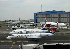 OR Tambo International Airport, Johannesburg, South Africa. Airlink Embraer ZS-SWV and Airlink BAe ZS-ASW as well as Airbus of Virgin Atlantic Airways and South African Airways British Aerospace, Virgin Atlantic, International Airport, Airplanes, South Africa, Aviation, African, Travel, Planes