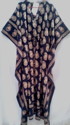 Organic Black Anokhi Paisley Hand block print Long Indian cotton Kaftan Tunic One Size
