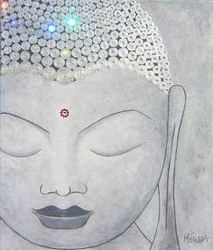 Buddha Painting  Grey Swarovski Crystals by MelissaBordeauxArt, $200.00