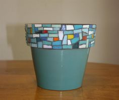 Mosaic Flower Pot With Blue/Green Glaze by UnitedFragments on Etsy Blue Mosaic, Pebble Mosaic, Stone Mosaic, Mosaic Art, Mosaic Glass, Mosaic Tiles, Stained Glass, Mosaic Planters, Mosaic Flower Pots