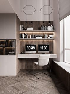 Tips and ideas for home office design layout makeovers to inspire creativity and boost productivity. Modern Home Office Furniture, Home Office Design, Home Office Decor, House Design, Home Decor, Room Interior, Modern Interior, Home Interior Design, Study Room Design