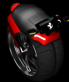 Compact Ferrari Pop Bike. The brainchild of Australian industrial designer, Kourosh H.Esfahani, the bike is placed between bicycles and fierce motorbikes. The two wheeled, battery powered electric Pop Bike is designed emission free and compact for the future wherein the space on the road will be cramped and level of pollution high.