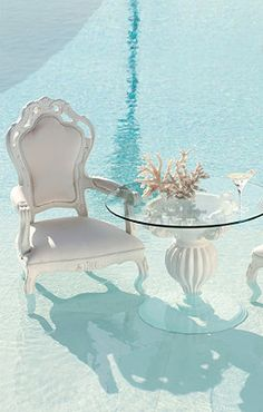 Dining set in the pool!