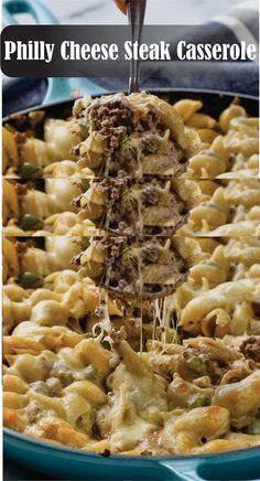 This Philly Cheese Steàk Càsserole Steak Pasta, Beef Dishes, Pasta Dishes, Food Dishes, Pasta Meals, Steak Casserole, Casserole Recipes, Cabbage Casserole, Casserole Dishes