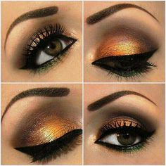 Gold smokey eyeshadow with green and black liner and lushes lashes