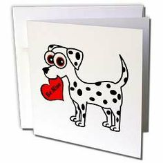 Janna Salak Designs Valentines Day - Cute Dog Be Mine Heart - Dalmatian - Greeting Cards-6 Greeting Cards with envelopes by Janna Salak Designs. $10.49. Cute Dog Be Mine Heart - Dalmatian Greeting Card is measuring 5.5w x 5.5h. Greeting Cards are sold in sets of 6 or 12. Give these fun cards to your friends and family as gift cards, thank you notes, invitations or for any other occasion. Greeting Cards are blank inside and come with white envelopes.