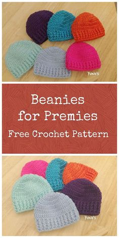 Crochet Beanie Design Free crochet pattern for premature babies. A simple beanie design that you can complete within an hour Crochet Preemie Hats, Bonnet Crochet, Crochet Baby Hat Patterns, Crochet Baby Beanie, Crochet Beanie Pattern, Baby Knitting, Booties Crochet, Crochet Headbands, Crocheted Hats