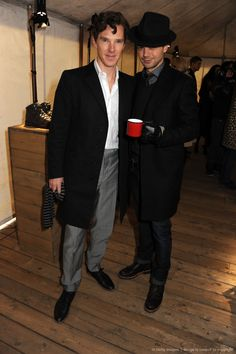 Benedict Cumberbatch and Dominic Cooper attend the 'BALLY Celebrates 60 Years of Conquering Everest' at Bedford Square Gardens on January 7, 2013 in London