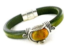 Regaliz Leather Bracelet Distressed Green with Silvertone Mustard Resin Pendant