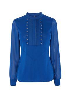 Karen Millen, Chemise cloutée à manches transparentes Bleu sarcelle