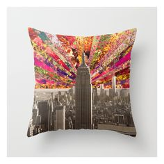 Blooming Ny Throw Pillow ($20) ❤ liked on Polyvore featuring home, home decor, throw pillows, green toss pillows, new york home decor, flower throw pillow, green accent pillows and green throw pillows