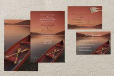 Flat Rectangle Wedding Invitations - Canoe at Sunset