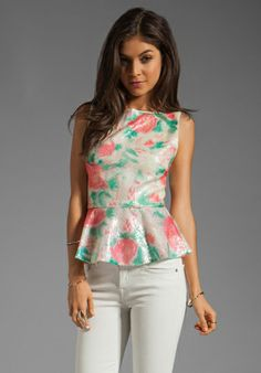ALICE + OLIVIA Rosie Embroidered Boatneck Overlay Peplum Top in Abstract Garden