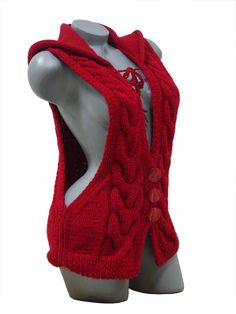 Knitted red hooded vest, Cable knit cardigan, Sleeveless sweater for women, Women's knitwear, Hand crochet woolen hoodie - Cardigan Cardigan En Maille, Cable Knit Cardigan, Knit Vest, Sweater Cardigan, Knit Sweaters, Hooded Cardigan, Mode Crochet, Hand Crochet, Crochet Woman