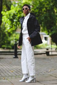 White outfits with a stylish black accent | For more style inspiration visit 40plusstyle.com