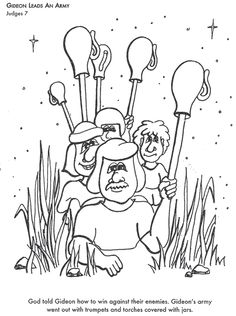 god leads an army bible coloring page for kids to learn bible stories gideons