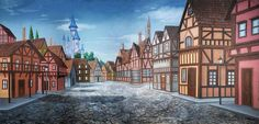 """*Belle's Town Square - B* """"Little town… It's a quiet village!"""" Bonjour! Feast your eyes on this glorious backdrop from TheatreWorld's BEAUTY AND THE BEAST collection! Inspired by both the Disney animated film and Broadway stage version of BEAUTY AND THE BEAST, this backdrop perfectly depicts Belle's village town square for the opening scene of this classic. https://www.theatreworldbackdrops.com/3467/belle's-town-square---b-backdrop #belle #beautyandthebeast #disney #backdrops #handpainted"""