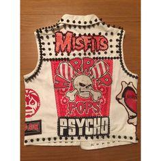 Ladies Small Psychobilly White Denim Punk Vest ($150) ❤ liked on Polyvore featuring outerwear, vests, grey, women's clothing, patch vest, grey denim vest, button vest, tall vest and studded denim vest