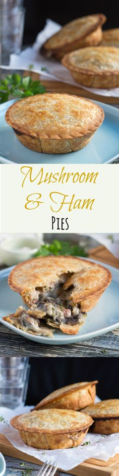 Creamy Mushroom and Ham Pies with Kamut & Spelt Crust Pork Recipes, Real Food Recipes, Baking Recipes, Yummy Food, Recipies, Savoury Baking, Savoury Pies, Mushroom Recipes, Mushroom Pie