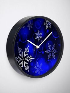 """Royal Blue Snowflake Motif"" Clock by HavenDesign 