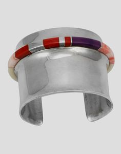 Cuff bracelet | Charles Supplee.   Sterling silver, inlaid with coral, fossil ivory and sugilite.