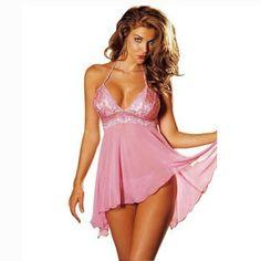 Plus Size Women's Sexy Lingerie Lace Dress Underwear Babydoll Sleepwear+G-string