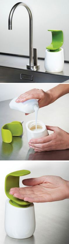 Modern Soap Dispenser - Cuts back on Germs <3 #healthy #clean #green #kitchen #bathroom