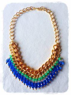Collar Piedras verde y azul, $140 en https://ofeliafeliz.com.ar