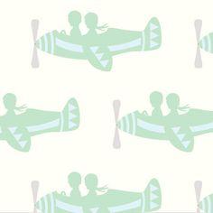 Patroonbehang vliegtuigjes mint groen/blauw van www.perron11.nl