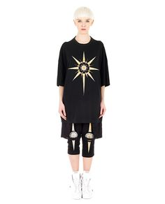 YOHANIX Black oversized T-shirt  crew-neck short sleeves front metal decorations 62% PL 33% RY 5% SE