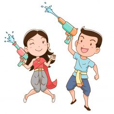 Cartoon Character Of Boy And Girl Holding Water Gun In Songkran Festival, Thailand. Female Cartoon Characters, Girls Characters, Boy Character, Character Creation, Happy Cartoon, Cute Cartoon, Boy And Girl Cartoon, Boy Or Girl, Cute Illustration