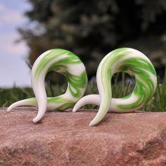 Green Glass Twist Hangers