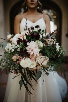 Lush bridal bouquet of roses and dahlias in deep shades of burgundy and blush. fall wedding bouquet autumn boho bouquet large flowers boho wedding burgundy and blush wedding inspiration dark moody wedding bouquet flowers Fall Wedding Bouquets, Fall Wedding Flowers, Fall Wedding Colors, Bride Bouquets, Bridal Flowers, Flower Bouquet Wedding, Bouquet Flowers, Spring Wedding, Autumn Wedding Bouquet