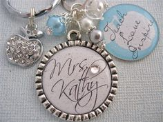 Awesome teacher gift, Teach Love and Inspire, Baby Blue, Rhinestone apple charm    http://www.etsy.com/shop/MyBlueSnowflake?section_id=10616098