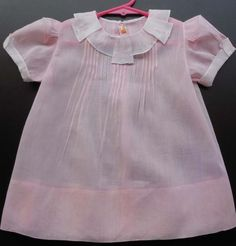 Vintage Pink and white Batiste Baby Dress . love the collar.