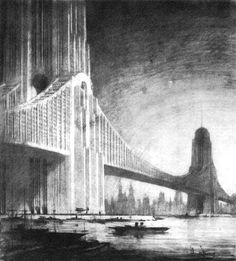 """Darkpunk City Architecture: Psycho-Noir Cityscapes of Hugh Ferriss (These drawings are a little too upscale for anything I am wanting to do with a St. Louis-Based neitherworld in the mid-20th century - they look more like a retrofuture London or New York/Gotham) but this collection blends a lot of the themes I am wanting to capture for """"Deco-Goth"""")"""