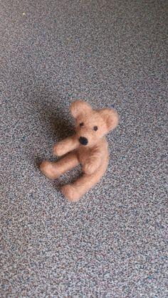 Needle felted miniature teddy bear in light brown by FeltedByRikke, $16.50