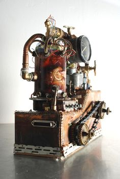 Mechanical Steam Punk Machine - mixed media including a pigs heart.