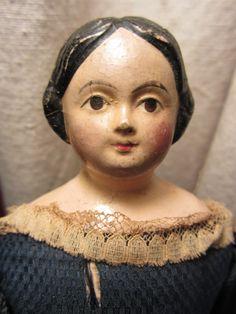 Antique carved painted wood cloth folk doll circa 1860's civil war era. | eBay