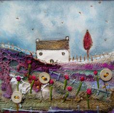'Retreat' by Louise O'Hara of DrawntoStitch www.drawntostitch.com  Use Judy Lenehans art as inspiration. Use Ursula's art as inspiration for collage