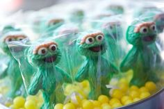Oscar the Grouch chocolate suckers.... I'd prefer a mixture of characters & colors if time allowed. Another great idea for a Sesame Street party.