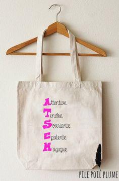 tote bag sac atsem adjectif cadeau original  de fin d'année: Autres sacs par pile-poil-plume