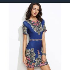 To find out about the Ornate Print Fitted Dress at SHEIN, part of our latest Dresses ready to shop online today! Short Summer Dresses, Casual Day Dresses, Summer Dresses For Women, Tight Dresses, Cute Dresses, Beautiful Dresses, Short Sleeve Dresses, Party Dresses, Casual Wear