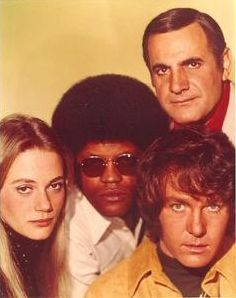 """The Mod Squad Peggy Lipton married Quincy Jones. Their daughter is Rashida Jones who plays Ann on """"Parks and Rec."""" (See the resemblance? Peggy Lipton, Rashida Jones, 1970 Style, Michael Cole, Quincy Jones, Vintage Television, And Peggy, Old Tv Shows, Vintage Tv"""